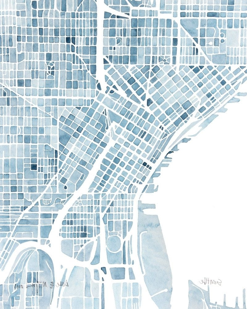 Widely Used Seattle Washington Blueprint 10X8 City Map Watercolor Wall Art Ready In Seattle Map Wall Art (View 2 of 15)