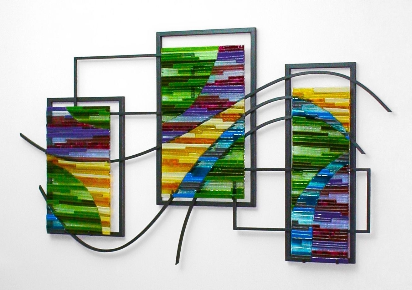 Widely Used Stained Glass Wall Art Inside Custom Made Fused Glass And Metal Wall Artbonnie M (View 15 of 15)