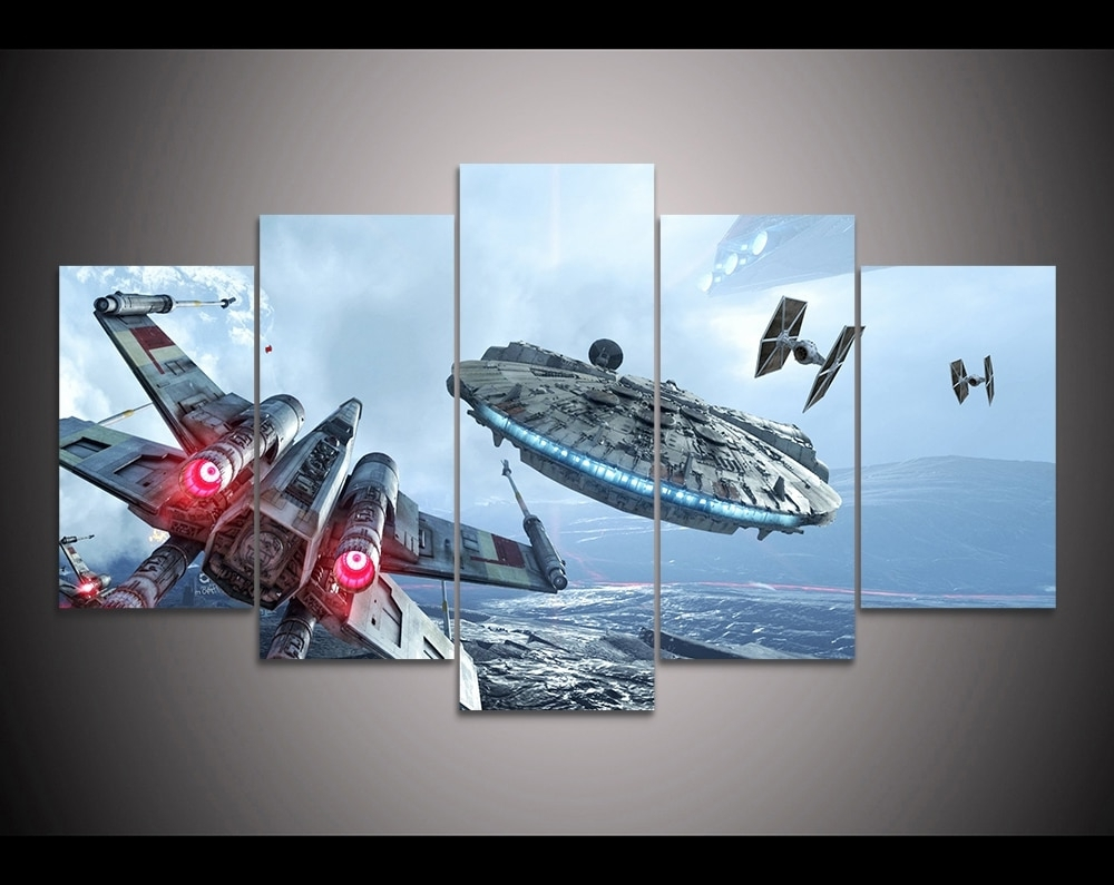 Widely Used Star Wars Wall Art With Regard To Hd Print 5 Pieces Canvas Wall Art Millennium Falcon X Wing Star Wars (View 15 of 15)