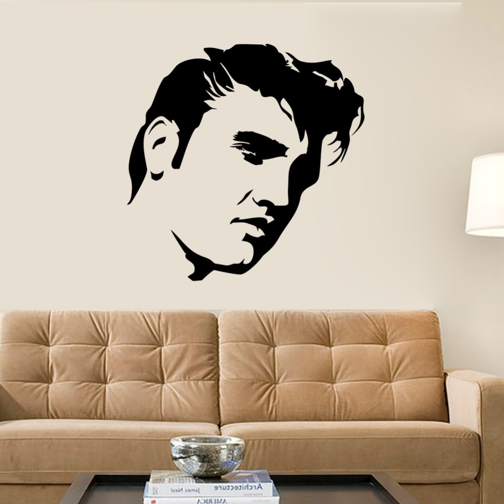Widely Used Stencil Wall Art With Creative Large Elvis Presley Wall Decals Bedroom Home Decor Black (View 15 of 15)
