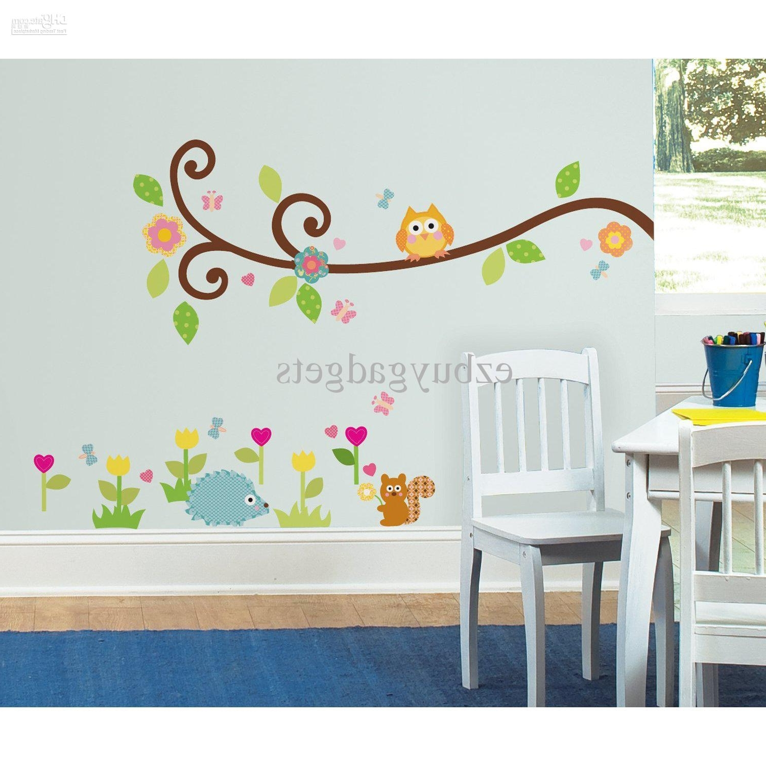 Widely Used Stick On Wall Art For Scroll Branch Peel And Stick Wall Art Decals Owl Leaves Flowers Kids (View 12 of 15)