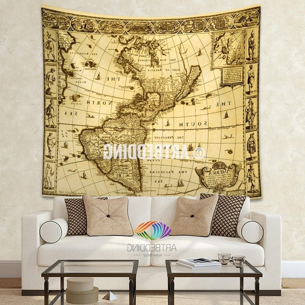 Widely Used Vintage Map Wall Art For Vintage World Map Wall Tapestry America Vintage World Map Wall (View 13 of 15)