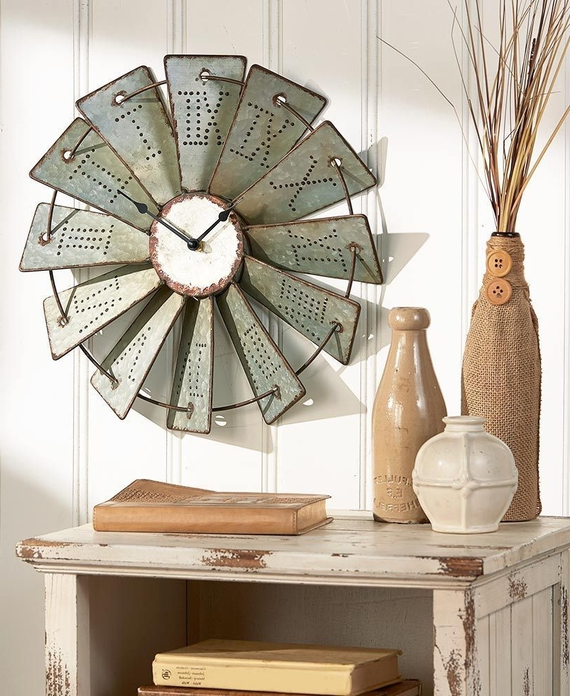 Windmill Wall Art In Recent Metal Windmill Wall Clock Rustic Farm House Wall Art Country Home (View 14 of 15)