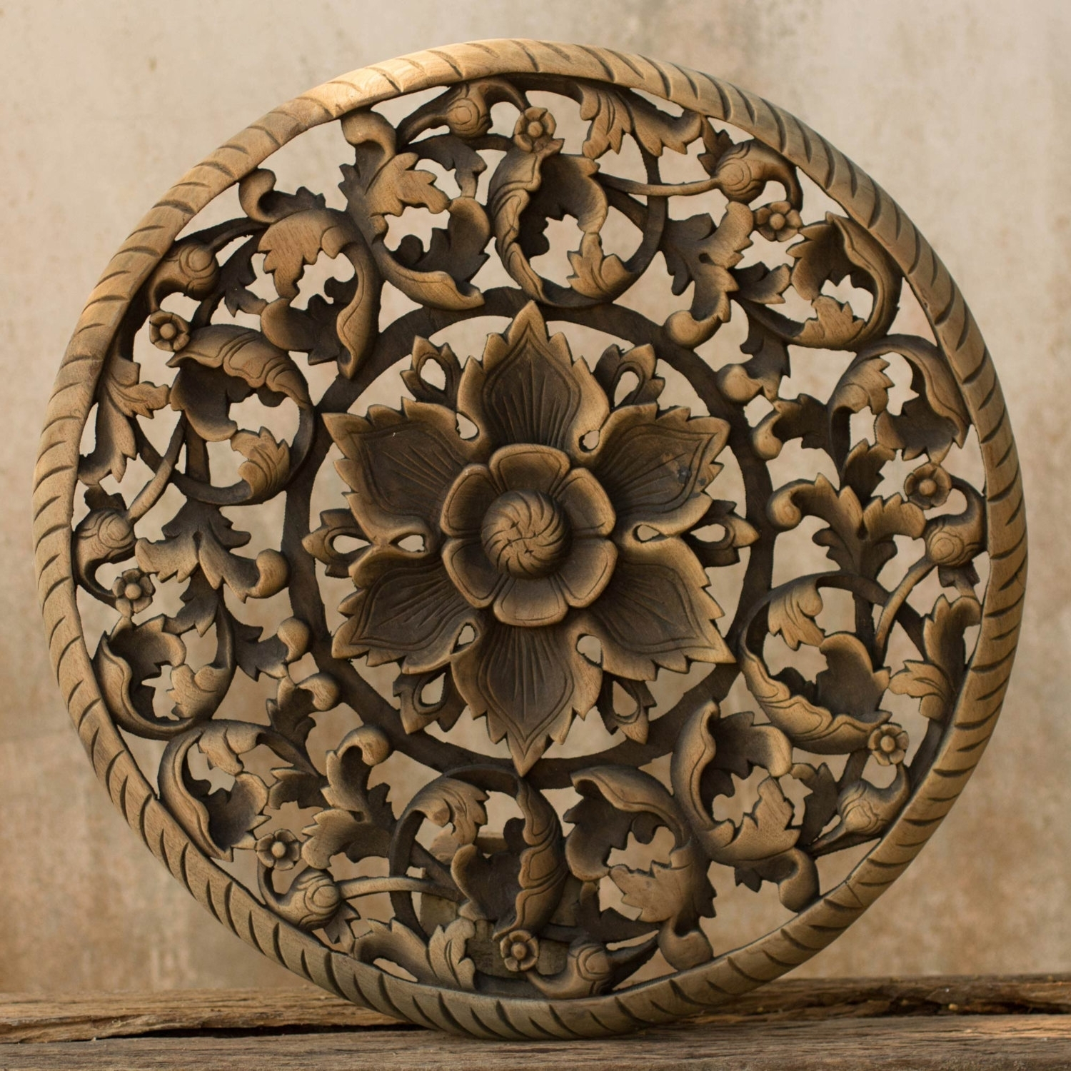 Wood Carved Wall Art Regarding Well Known Buy Tree Dimensional Floral Wooden Wall Hanging Online (View 13 of 15)