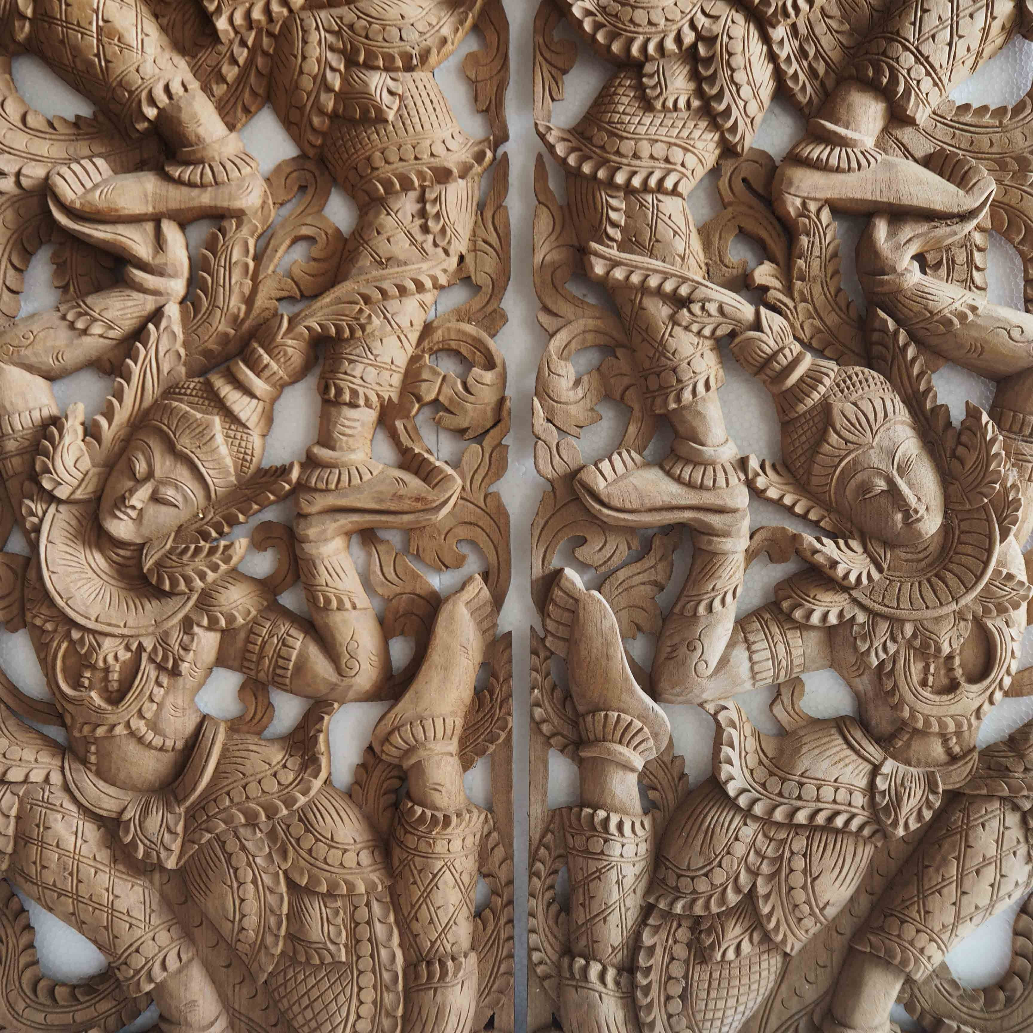 Wood Carved Wall Art With Regard To Most Up To Date Buy Pair Of Wooden Wall Art Panel From Thailand Online (View 14 of 15)