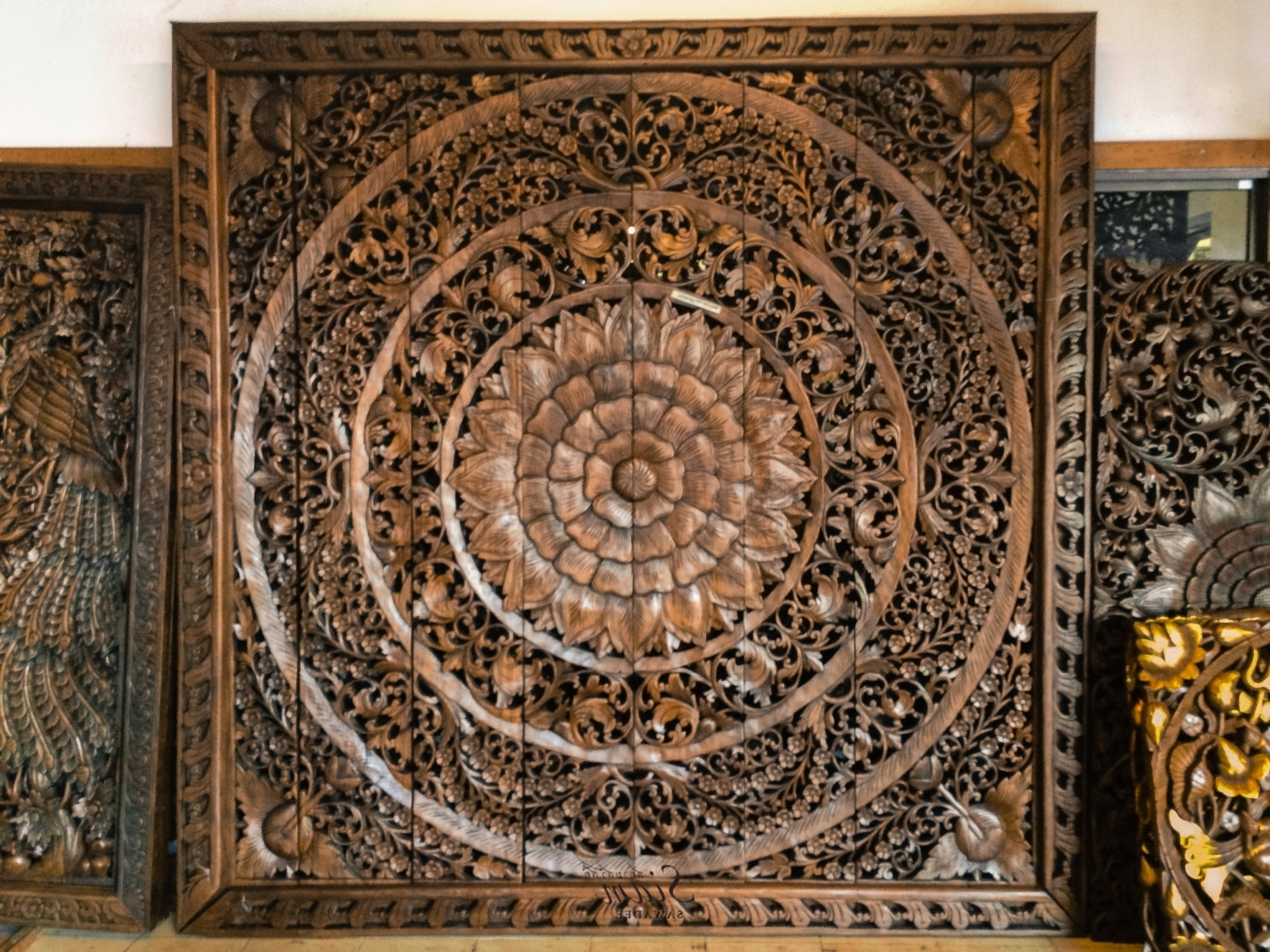 Wood Medallion Wall Art For Favorite Wood Medallion Wall Art Stickers Asian Wood Wall Decor Also Embossed (View 8 of 15)