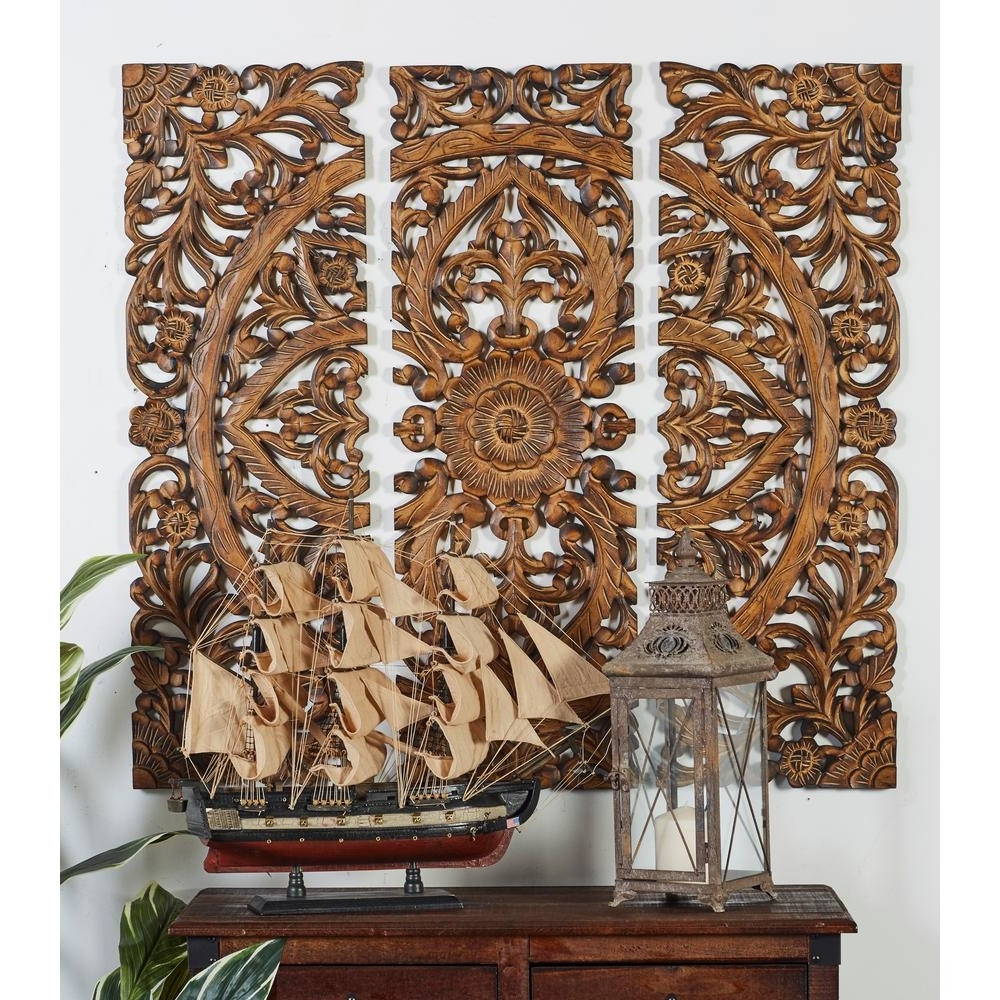 Wood Medallion Wall Art Within Fashionable Litton Lane 36 In. X 12 In (View 6 of 15)