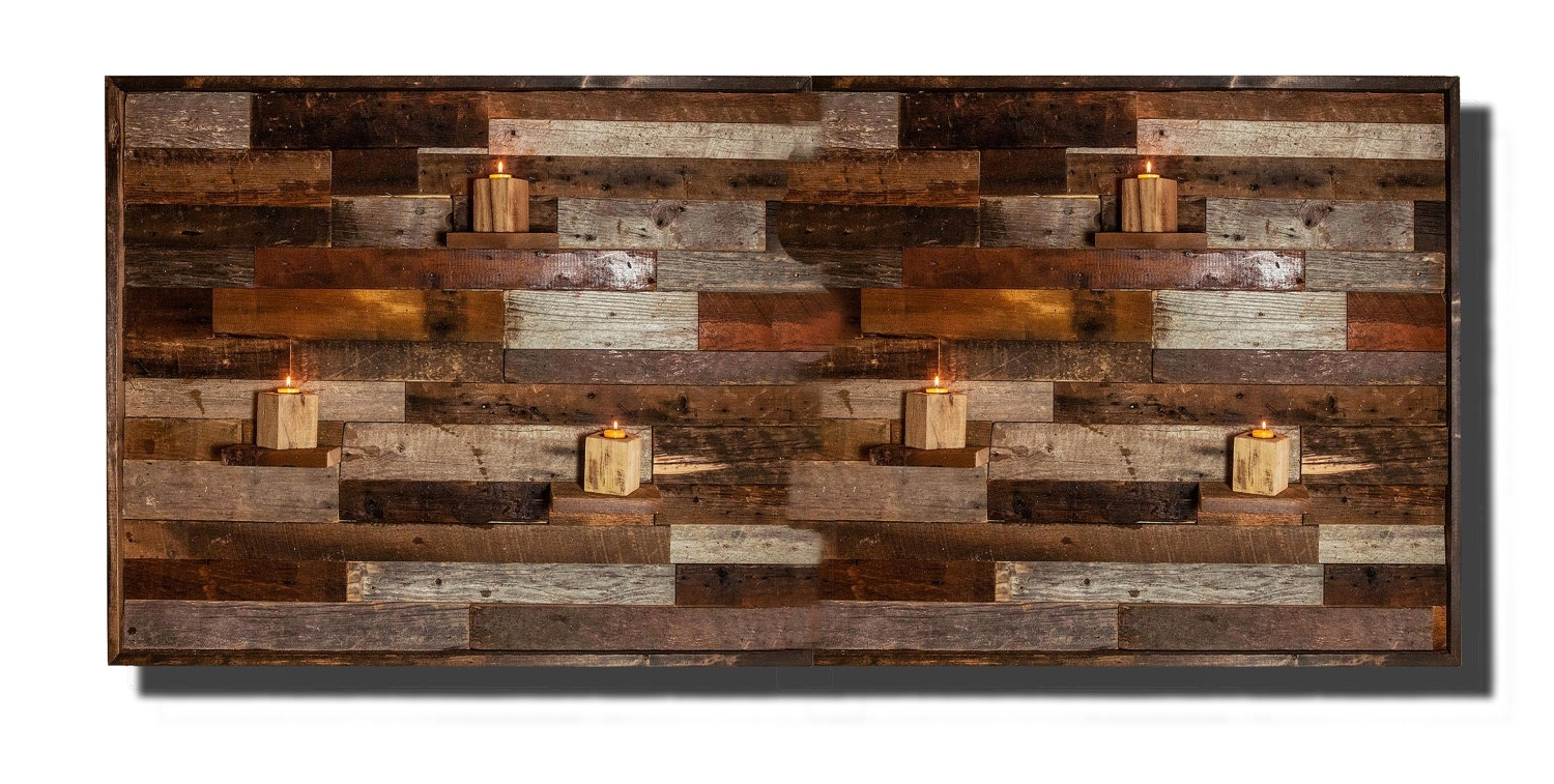 Wood Wall Art With Regard To Well Known Wood Wall Art, With Floating Wood Shelves, Made Of Reclaimed (View 6 of 15)