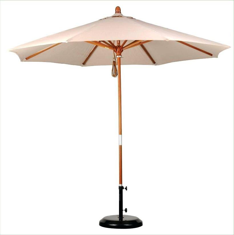 Wooden Patio Umbrellas Intended For Recent Wooden Patio Umbrella Market Parasol Garden Off White Wood Umbrellas (View 10 of 15)