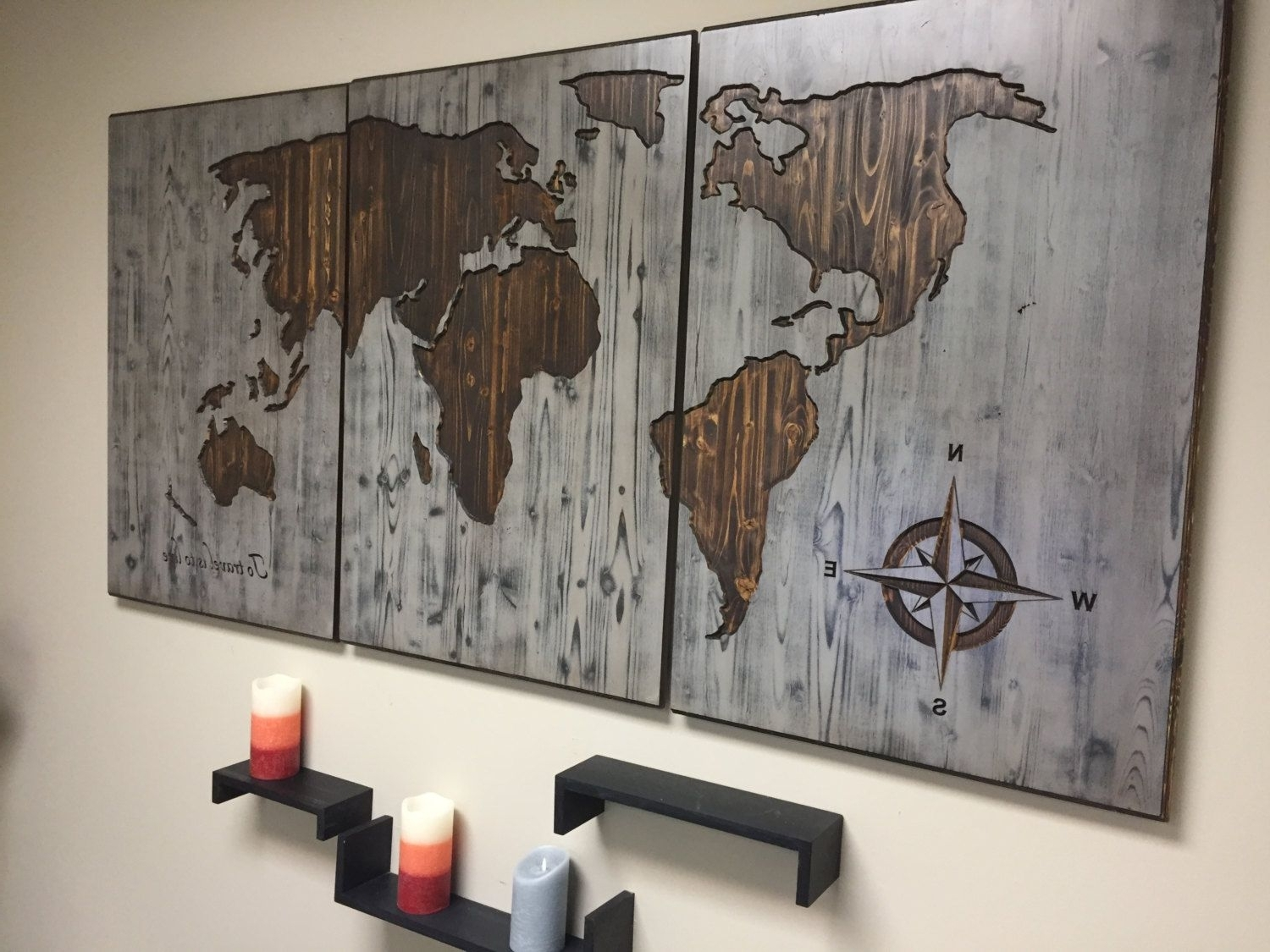 Wooden Wall Art Pertaining To Trendy Wall Decor For Home, World Map, Customized, Wooden Map, Push Pin Map (View 14 of 15)