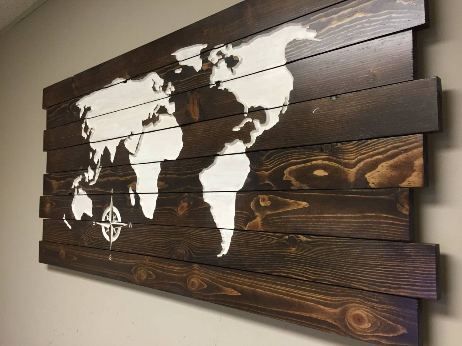 Wooden World Map Wall Art With Most Recent Pallet Sign World Map Carved Wood Wall Art Home Decor At Throughout (View 9 of 15)