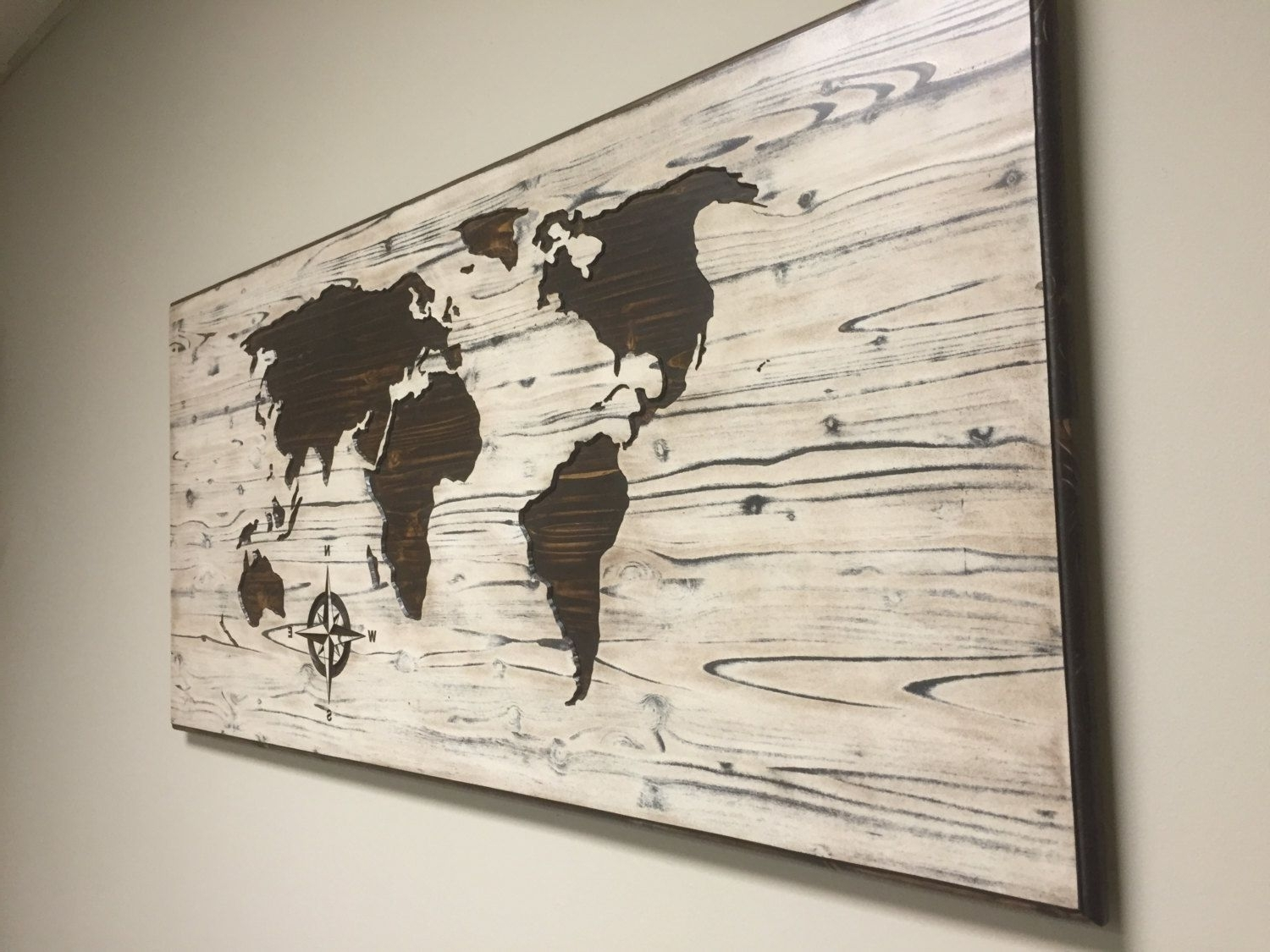 Wooden World Map Wall Art Within 2018 Barn Wood Style Map, Solid Wood, Not True Reclaimed / Barn Wood (View 11 of 15)
