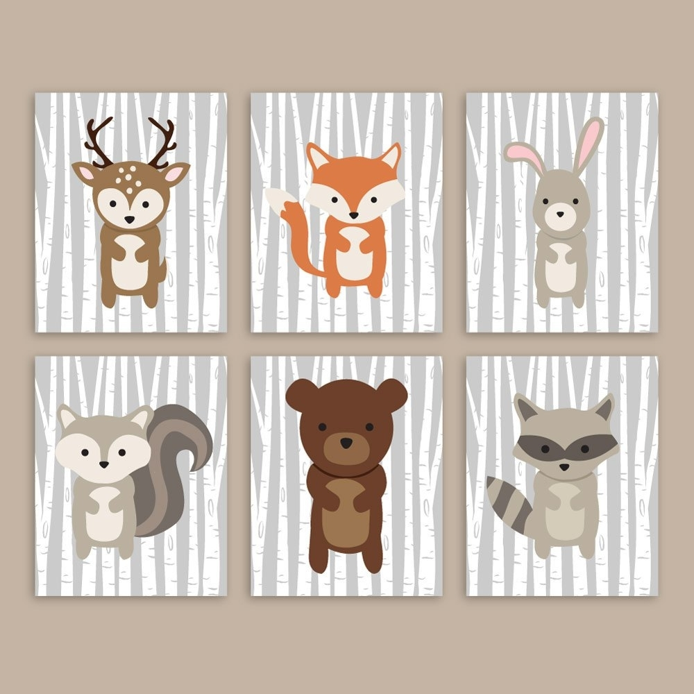 Woodland Nursery Wall Art With Widely Used Woodland Nursery Wall Art Forest Animals Woodland Wall Art, Forest (View 6 of 15)