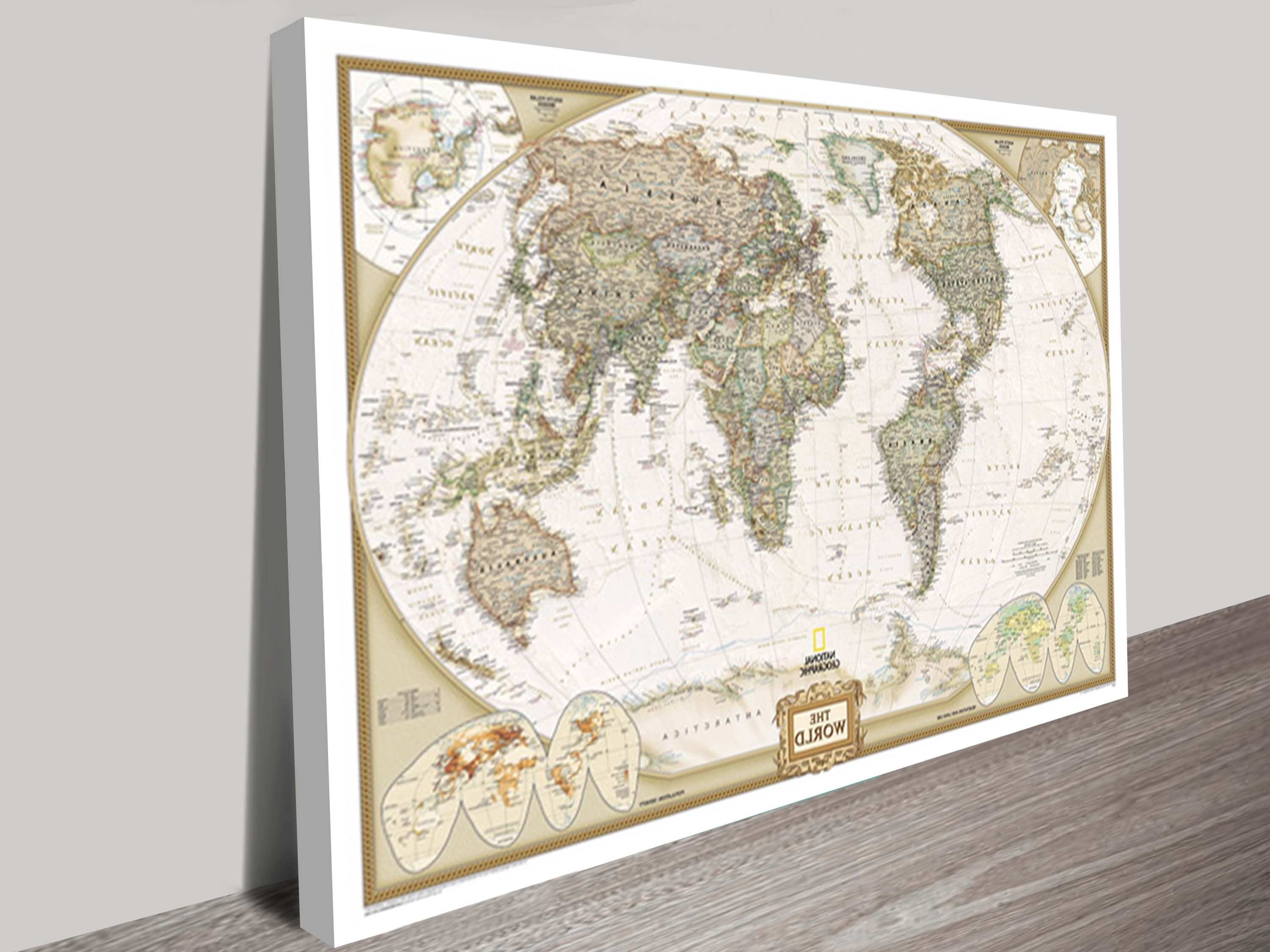 World Map Canvas Wall Art – Blogtipsworld For Newest Vintage Map Wall Art (View 15 of 15)