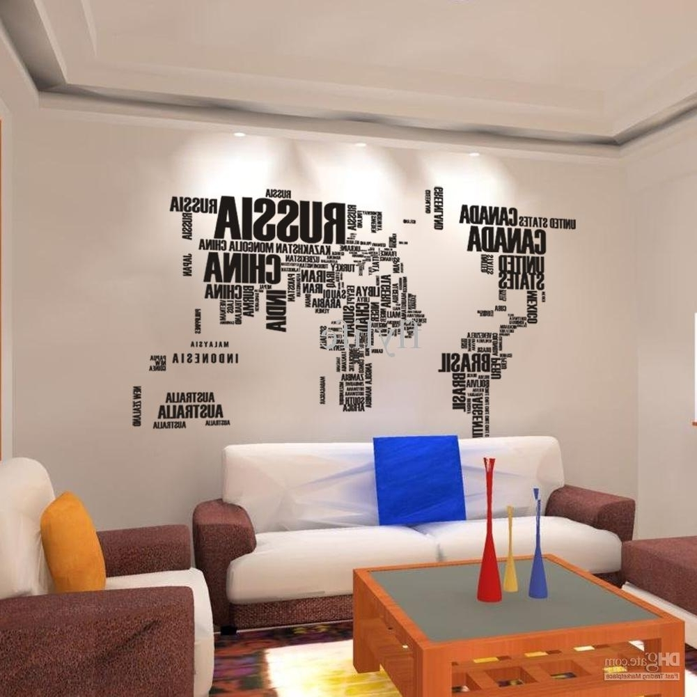 World Map For Wall Art Inside Most Popular World Map Wall Stickers , Home Art Wall Decor Decals For Living Room (View 10 of 15)