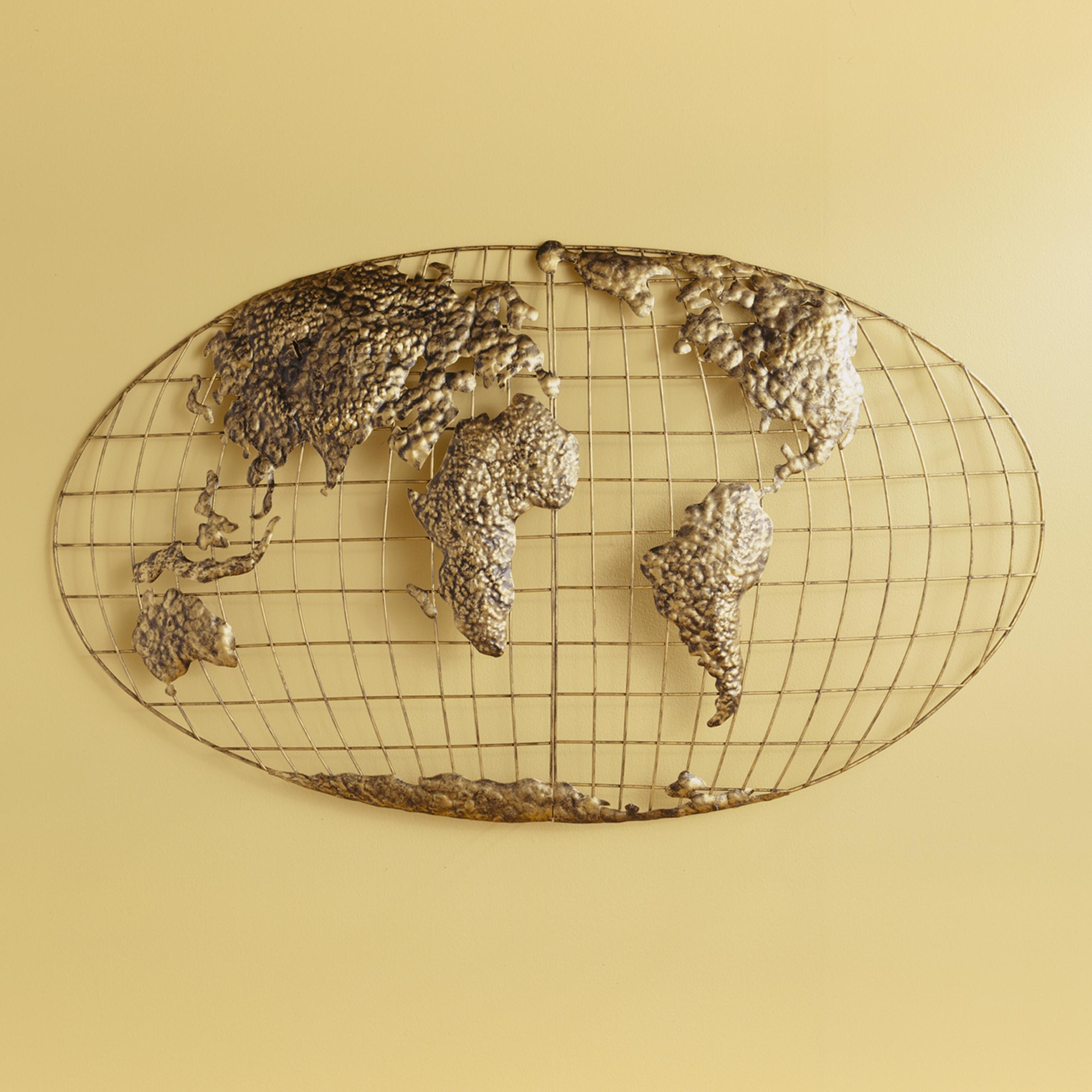 World Map For Wall Art Intended For Most Up To Date Amazon: Sei Southern Enterprises Iron World Map Wall Art: Home (View 3 of 15)