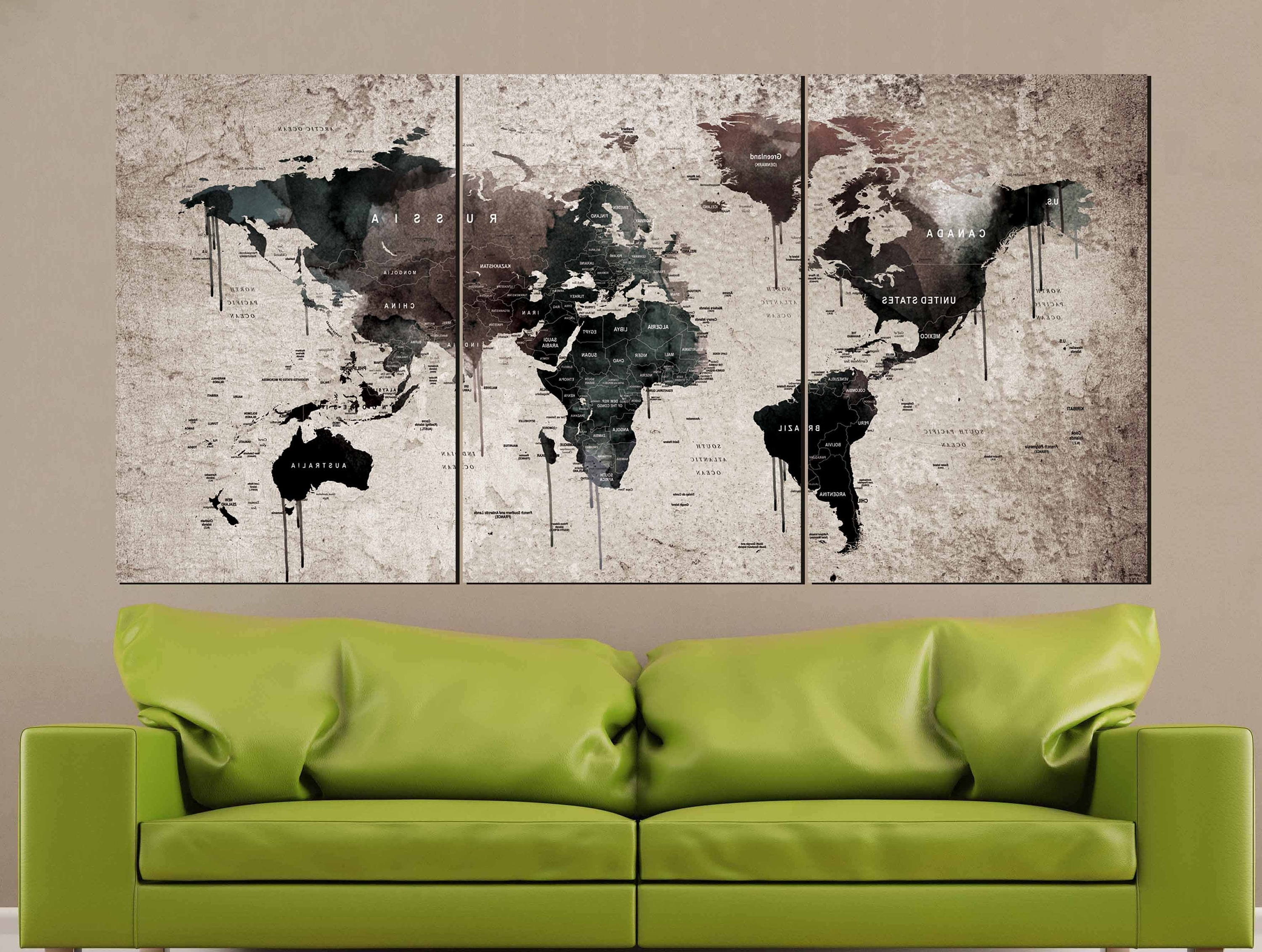 World Map Vintage,world Map Wall Art,vintage Map Canvas Print,world With Trendy Vintage Map Wall Art (View 15 of 15)