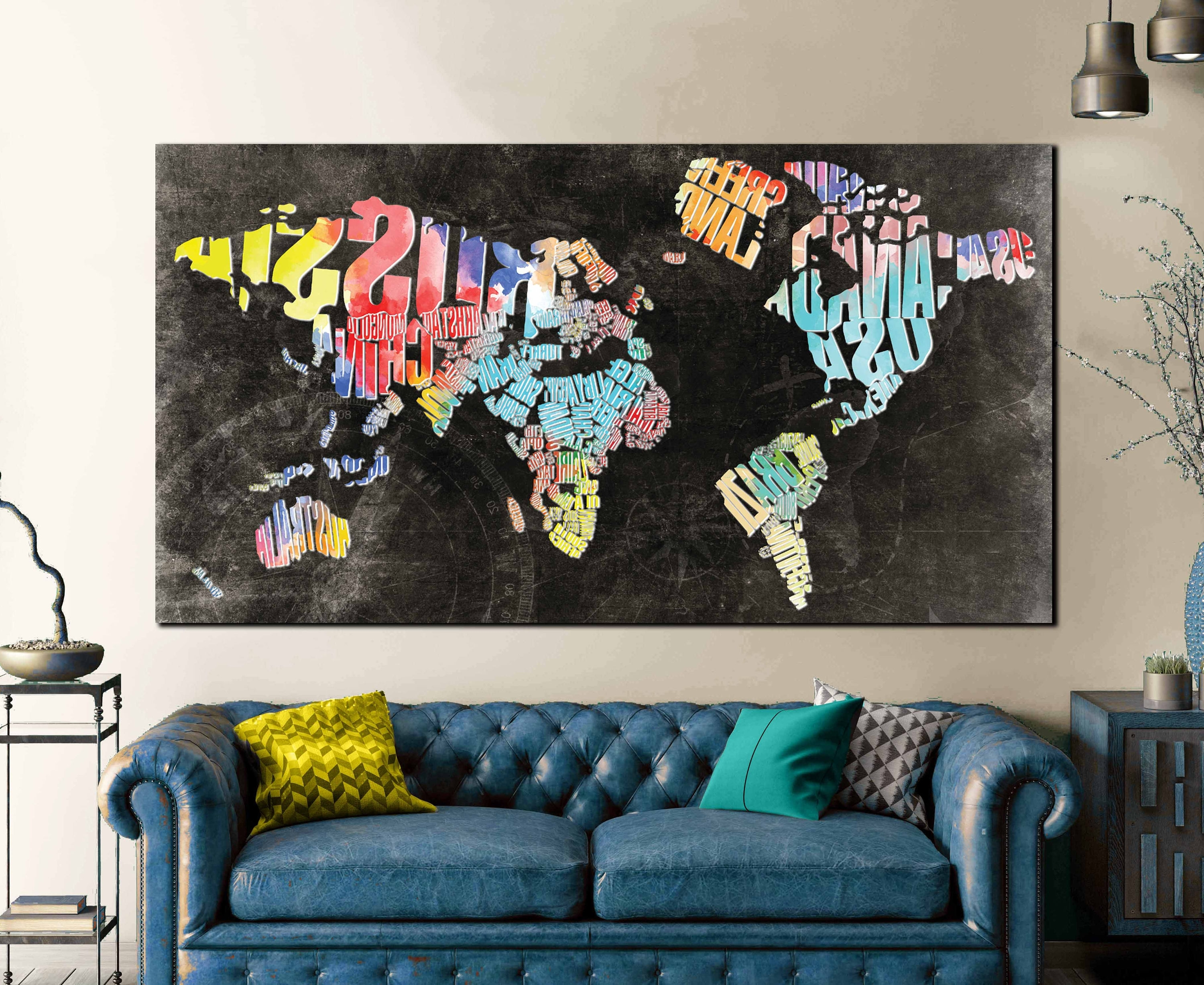 World Map Wall Art Canvas For Most Current Typographic World Text Map,world Map Abstract Wall Art Canvas Print (View 12 of 15)