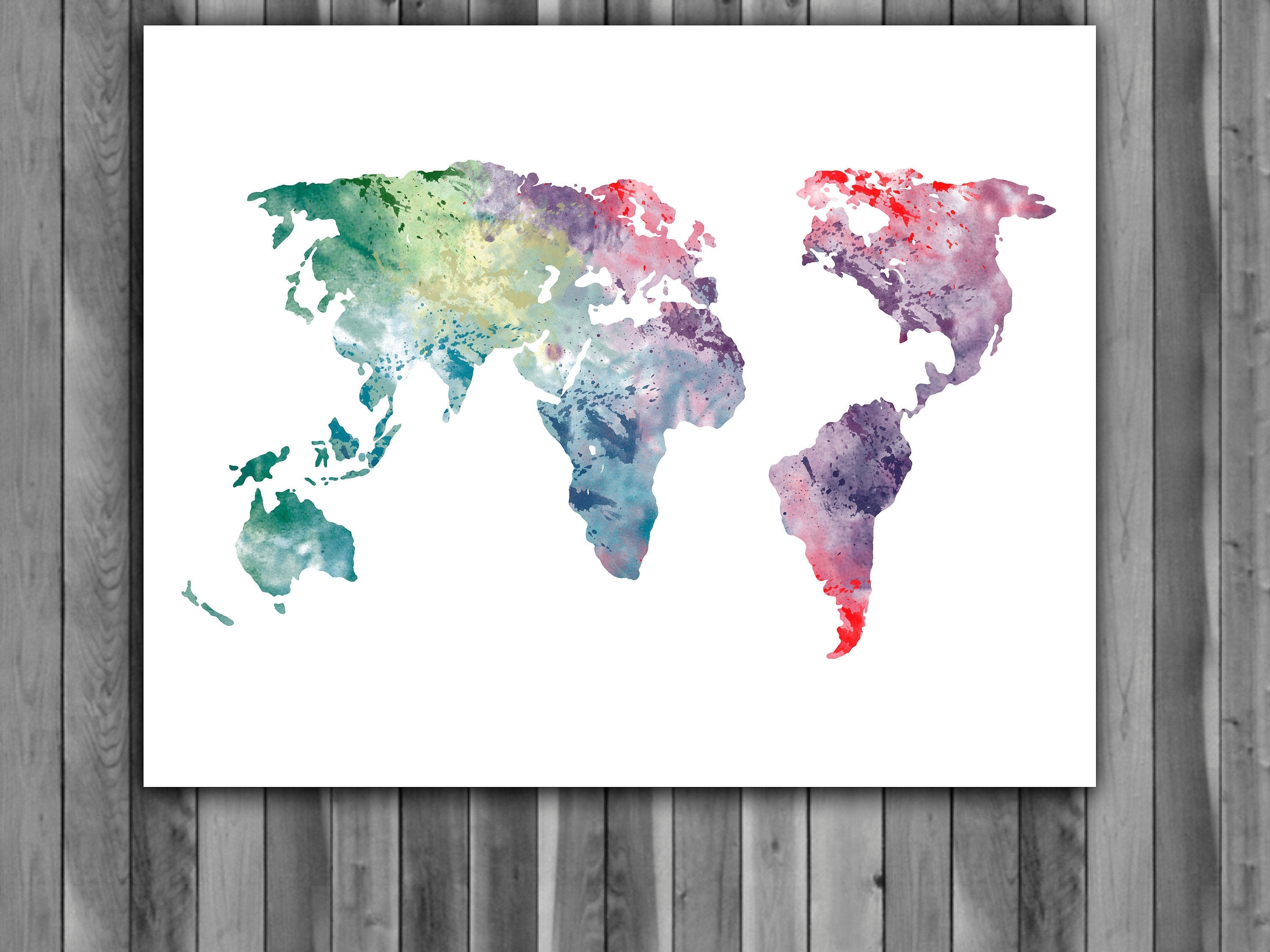World Map Wall Art For Kids For Trendy World Map Watercolor Print, World Map Art, World Map Painting, World (View 13 of 15)