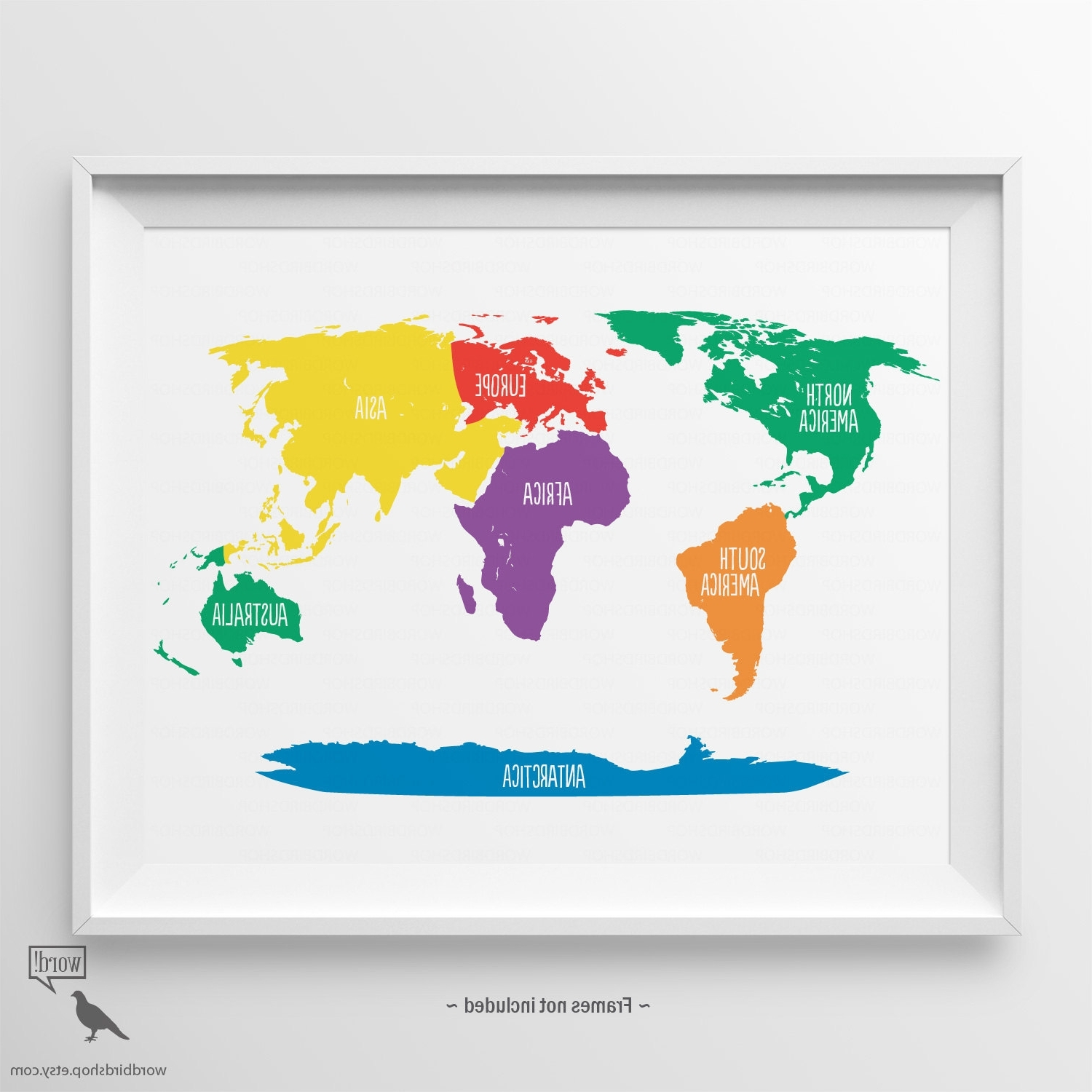 World Map Wall Art For Kids In Well Liked Primary Colors Nursery World Map Kids Wall Art Playroom Wall (View 7 of 15)