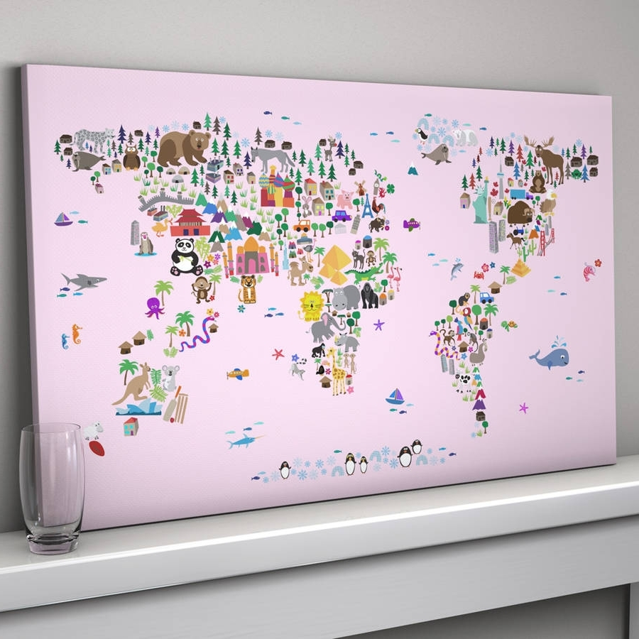 World Map Wall Art For Kids Pertaining To Well Known Animal World Map Printartpause (View 13 of 15)