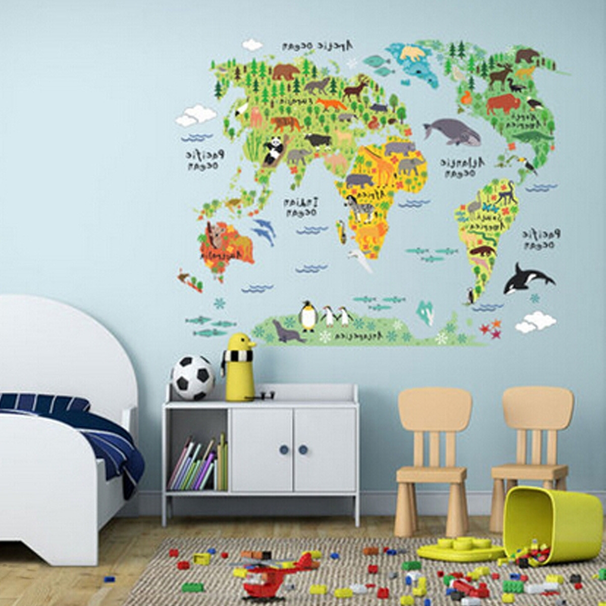 World Map Wall Art For Kids With Regard To 2017 60*90Cm Pvc Colorful Animal Travel World Map Kids Room Decor Wall (View 14 of 15)