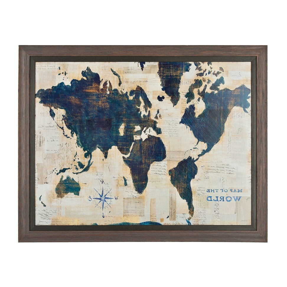 World Map Wall Art Framed Pertaining To 2017 Blue And Cream World Map Framed Art Print Frame Wall Decor Within (View 14 of 15)