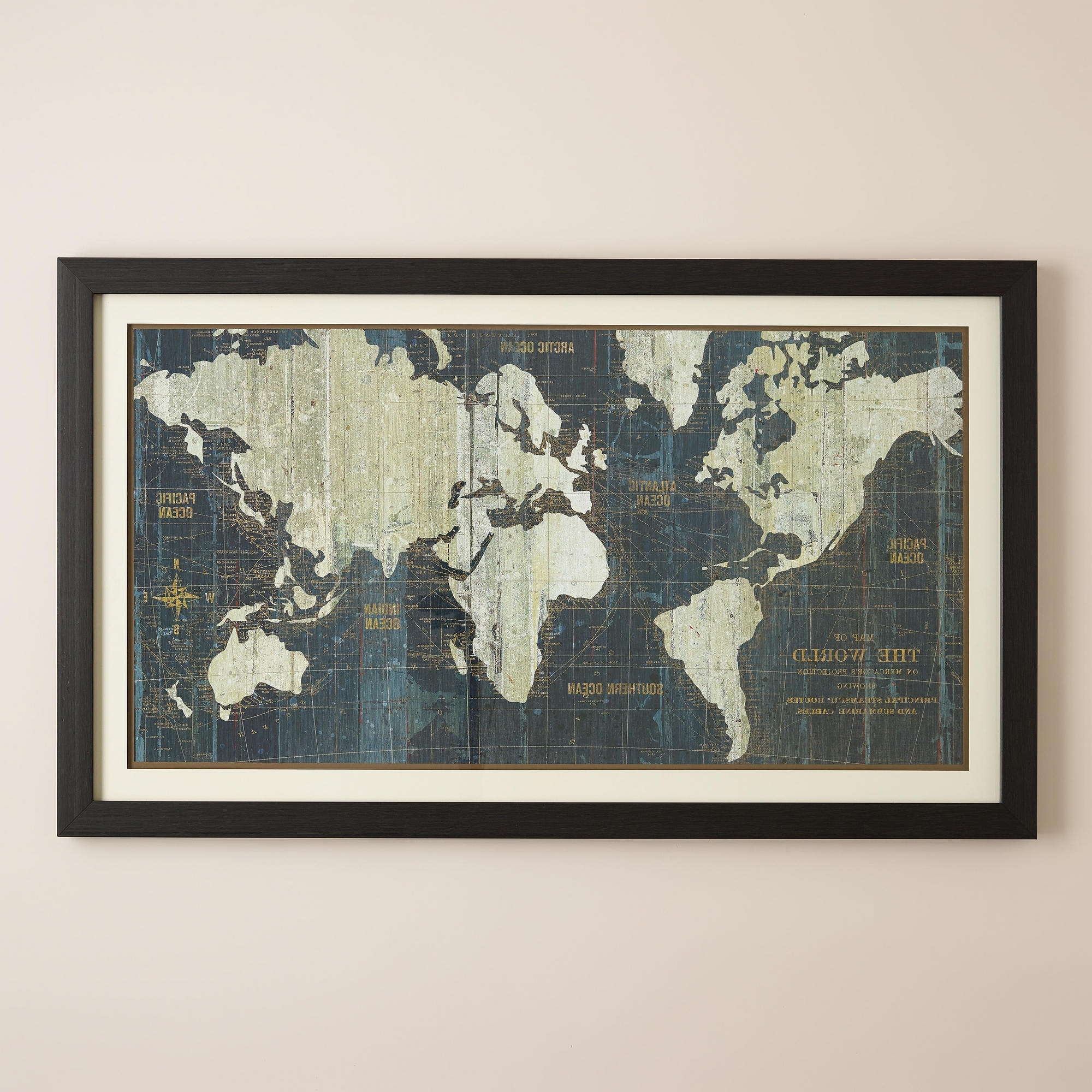 World Map Wall Art Framed With Regard To Most Up To Date Framed World Map For Wall Changyuheng Me And Large (View 10 of 15)