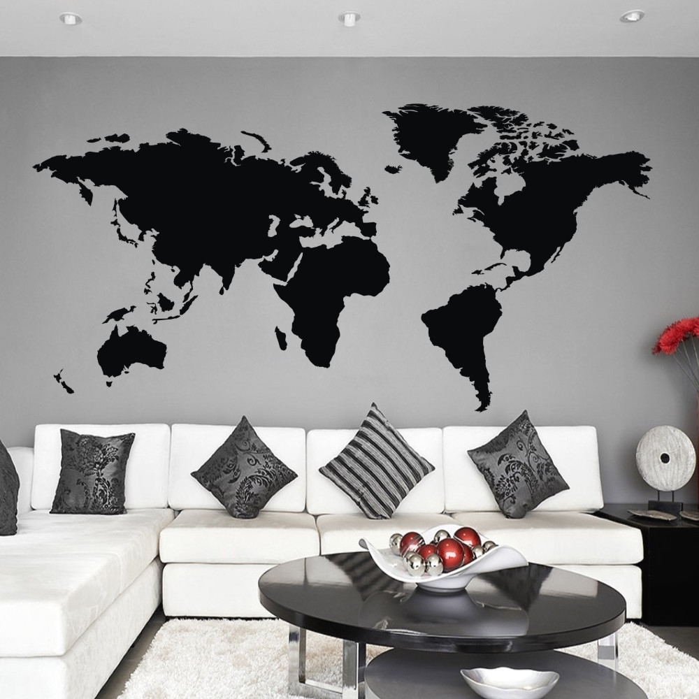 World Map Wall Decal The Whole World Atlas Vinyl Wall Art Sticker In Most Popular Vinyl Wall Art World Map (View 11 of 15)