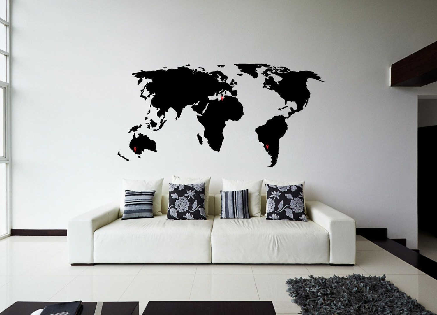 World Map Wall Sticker Design (View 14 of 15)