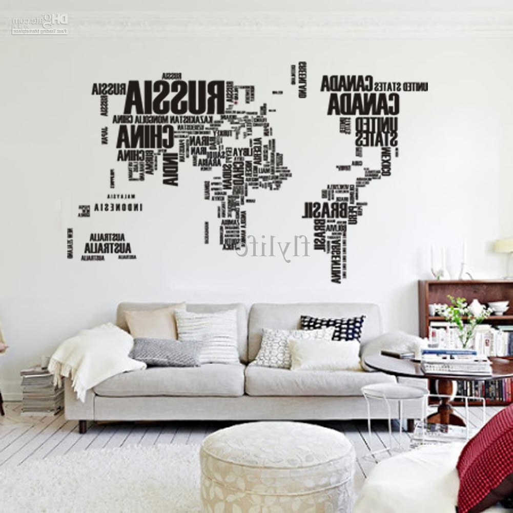 World Map Wall Stickers Home Art Wall Decor Decals For Living Room Throughout Most Popular Maps Wall Art (View 15 of 15)