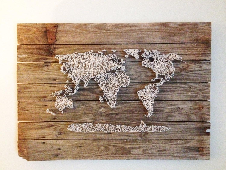World Map Wood Wall Art For Latest Wood Art Wall Decor World Map Reclaimed Barn Door Wood String Art (View 15 of 15)