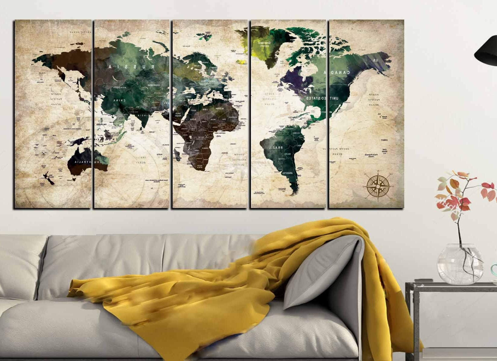World Map,world Map Wall Art,world Map Canvas Art,push Pin Map With Trendy Map Of The World Wall Art (View 10 of 15)