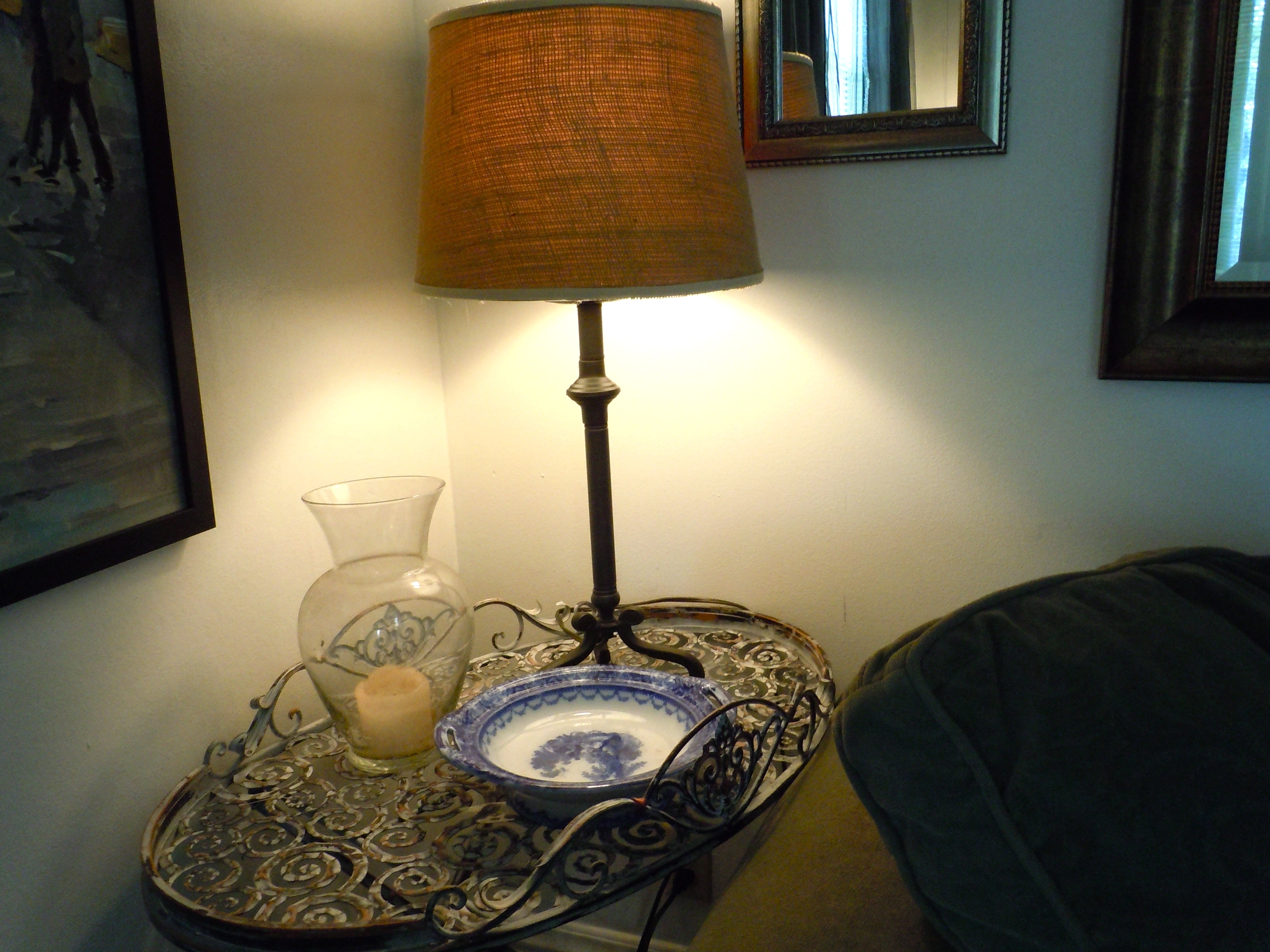Wrought Iron Living Room Table Lamps Inside Most Current Decor & Tips: Chic Wrought Iron Bed Side Table With Burlap Lamp (View 11 of 15)