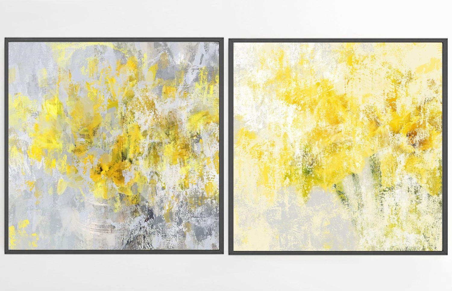 Yellow And Gray Wall Art throughout Most Popular Large Abstract Painting, Wall Art Set Of 2, Yellow Painting Print