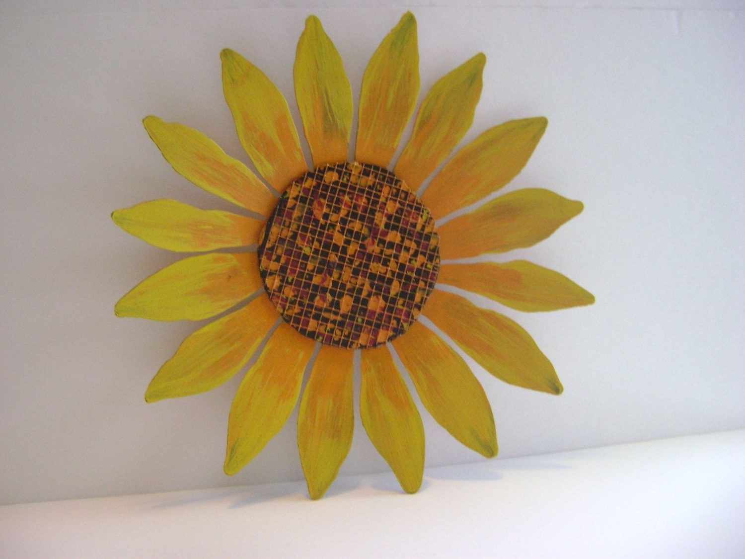 Yellow / Orange Sunflower Wall Art, Sculptured Metal Garden Art Regarding Recent Sunflower Wall Art (View 6 of 15)