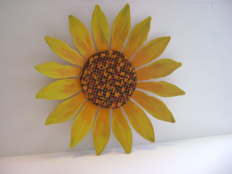 Yellow / Orange Sunflower Wall Art, Sculptured Metal Garden Art regarding Recent Sunflower Wall Art