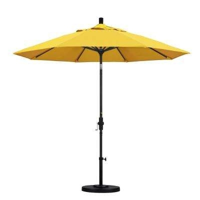 Yellow Sunbrella Patio Umbrellas With Most Up To Date 9 – Yellow – Market Umbrellas – Patio Umbrellas – The Home Depot (View 2 of 15)