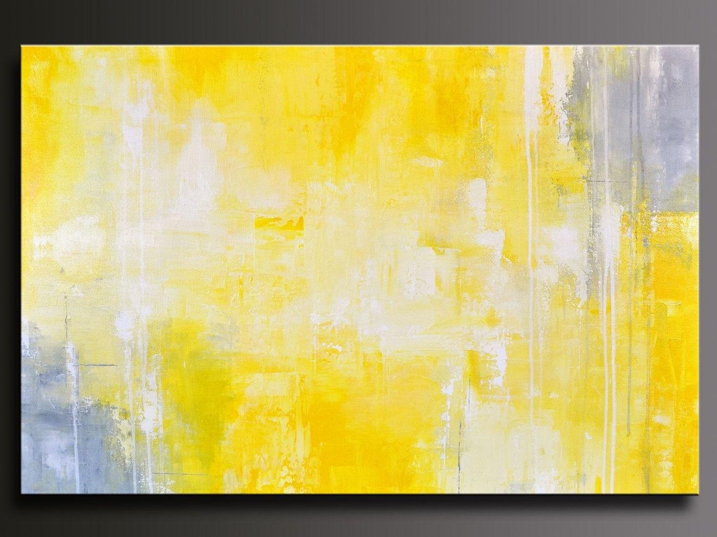 Yellow Wall Art with regard to 2017 Giclee Print Art Yellow Grey Abstract Painting Modern Coastal Wall