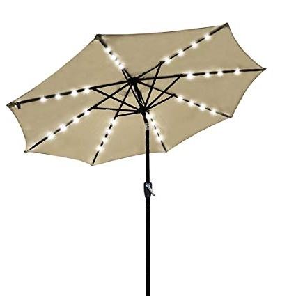 Yescom Patio Umbrellas Regarding Current Amazon : Yescom 9' Outdoor Solar Powered Led Umbrella 8 Ribs W (View 7 of 15)