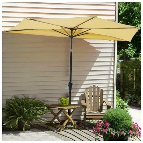 Yescomusa: 10' Patio Outdoor Aluminum Half Umbrella Cafe Restaurant pertaining to Favorite Half Patio Umbrellas