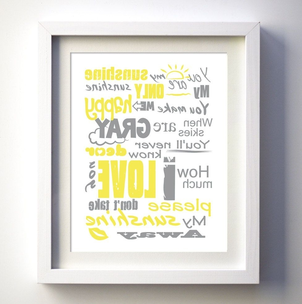 You Are My Sunshine Poster, Original Lyrics Song, Baby Birthday Gift within 2017 You Are My Sunshine Wall Art