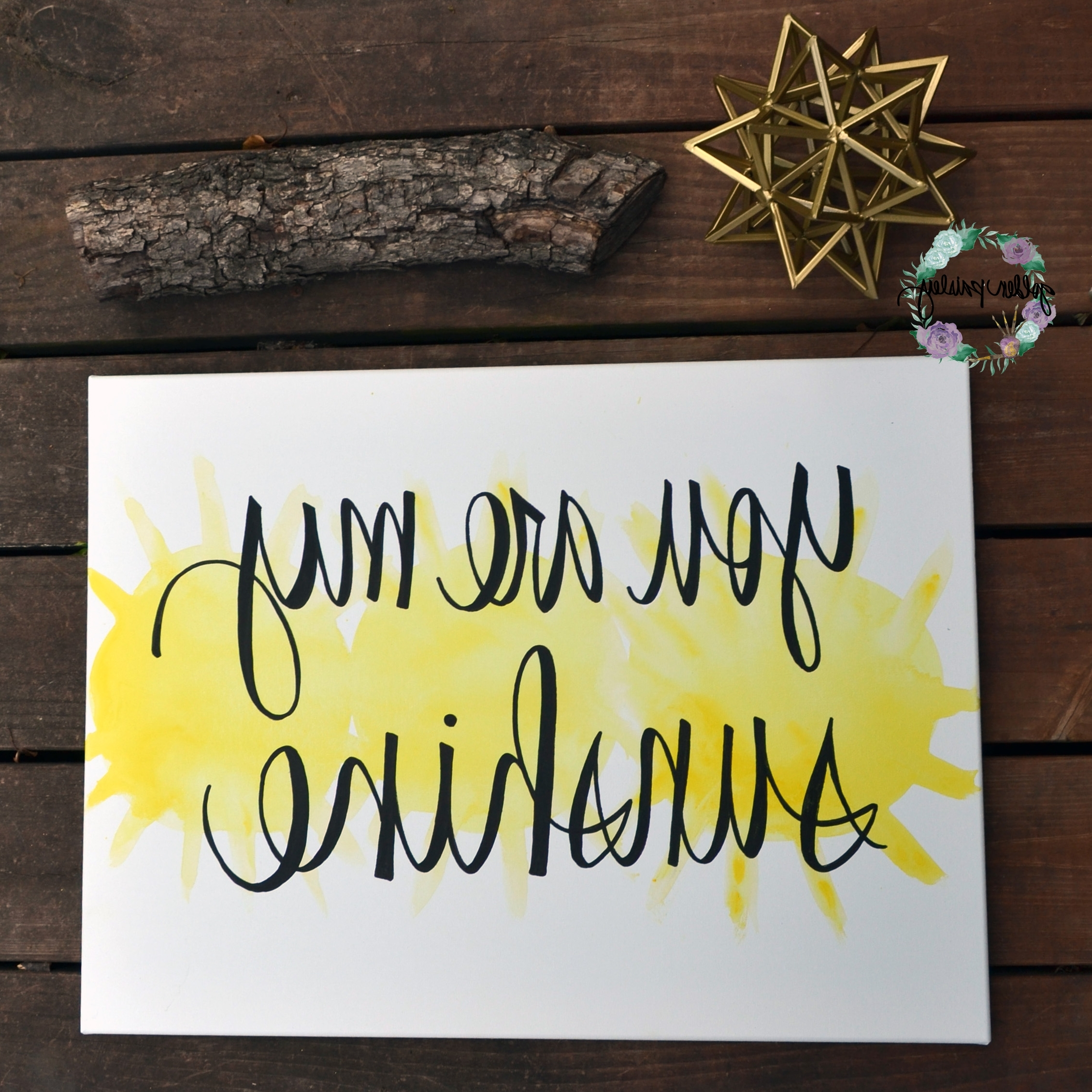 "You Are My Sunshine"" Yellow Watercolor Art inside 2017 You Are My Sunshine Wall Art"