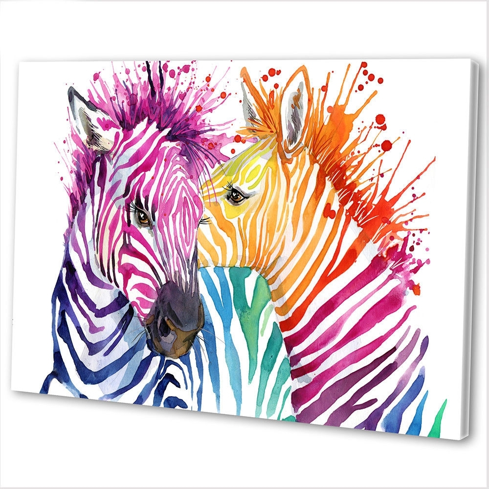 Zebra Canvas Wall Art For 2018 Multicoloured Zebra Abstract Canvas Print Framed Animal Wall Art (View 8 of 15)