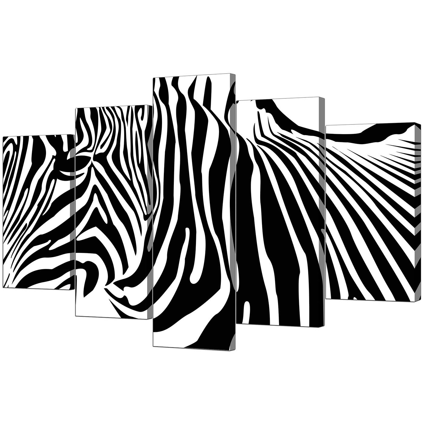 Zebra Canvas Wall Art Within Famous Extra Large Zebra Canvas Prints 5 Piece In Black & White (View 10 of 15)