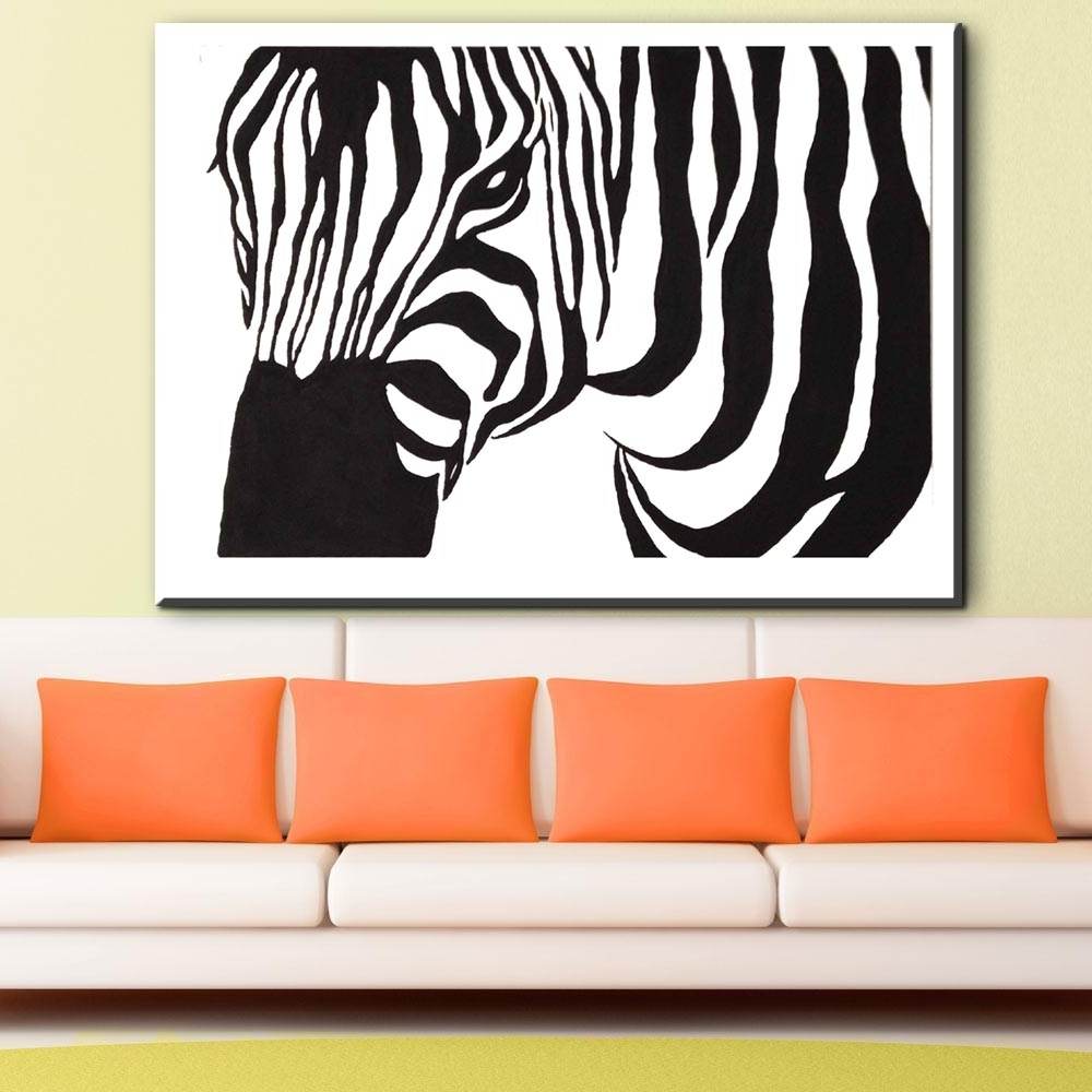 Zz1828 Black And White Zebra Canvas Wall Art Animal Canvas Pictures Inside Widely Used Zebra Canvas Wall Art (View 15 of 15)