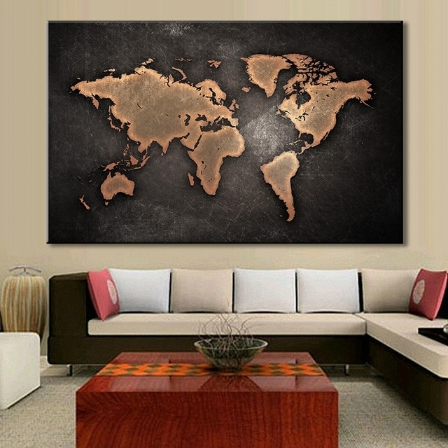 1 Pcs/set Huge Black World Map Paintings Print On Canvas Hd Abstract Within Most Popular Abstract World Map Wall Art (Gallery 6 of 15)