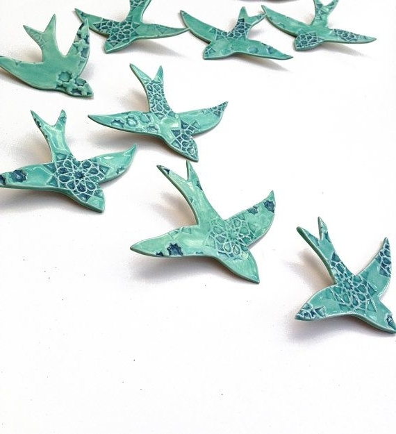 10 Porcelain Wall Art Swallows Ceramic Bird Wall Sculpture Large Intended For Preferred Ceramic Bird Wall Art (Gallery 2 of 15)