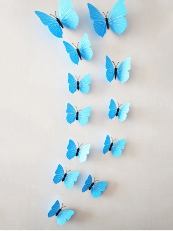 12Pcs/set Simulation Diy Magnet Butterflies 3D Wall Stickers Blue With Regard To Well Known Butterflies 3D Wall Art (View 12 of 15)