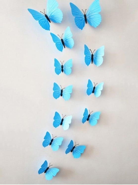 12Pcs/set Simulation Diy Magnet Butterflies 3D Wall Stickers Blue With Regard To Well Known Butterflies 3D Wall Art (View 1 of 15)
